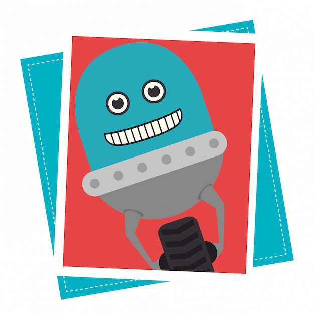Grappige robot cartoon Gratis Vector