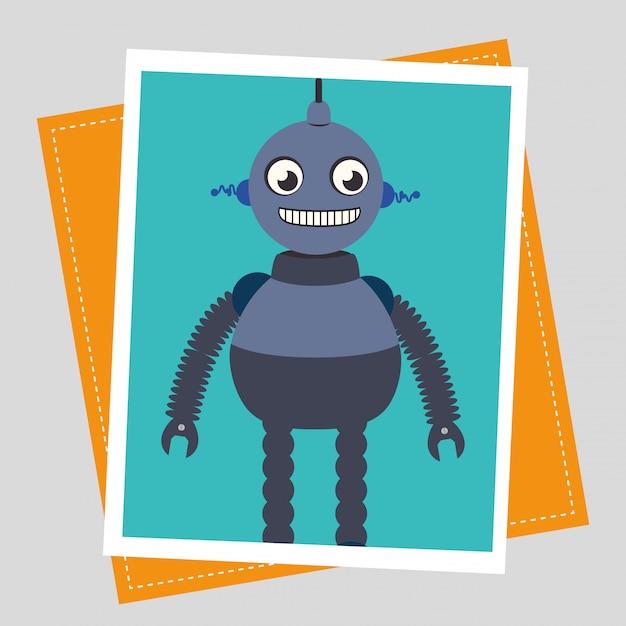 Grappige robot cartoon Gratis Vector