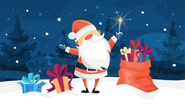 Grappige schattige kerstman staande met een zak vol geschenken in winter woud. nieuwjaar en kerstviering. illustratie Premium Vector