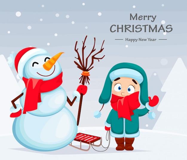 Grappige sneeuwpop en schattig meisje christmas greeting Premium Vector