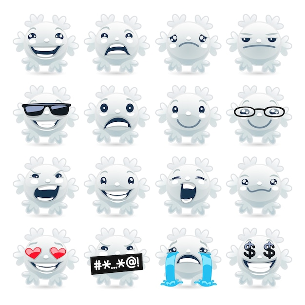 Grappige sneeuwvlok emoji's Premium Vector