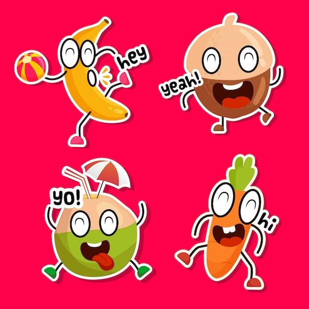 Grappige stickerscollectie van heerlijke snacks Gratis Vector