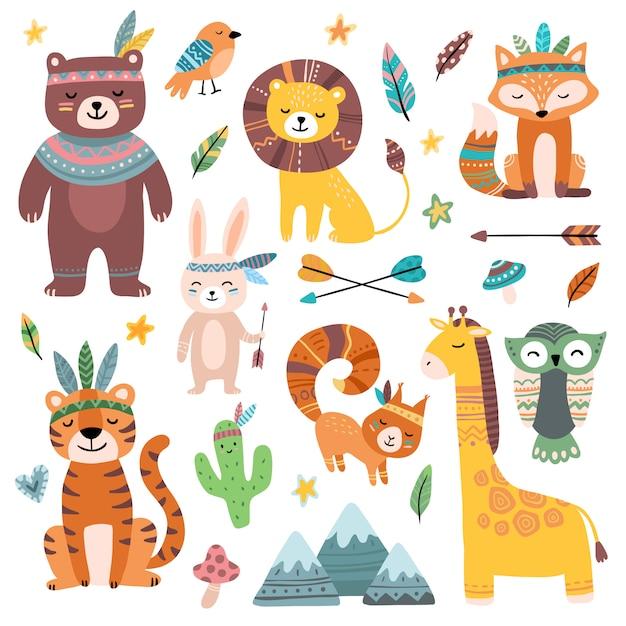 Grappige tribale dieren. woodland baby dier, schattig wild bos vos en jungle tribals dierentuin geïsoleerde cartoon tekenset Premium Vector
