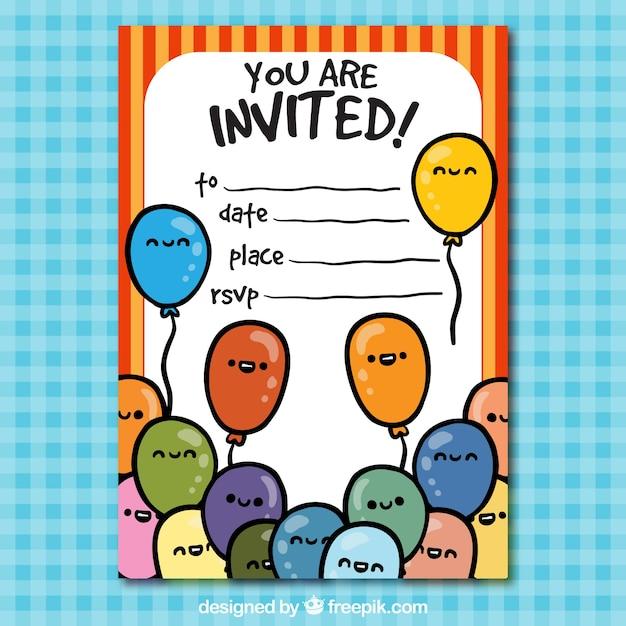 Grappige Verjaardag Uitnodiging Vector Gratis Download