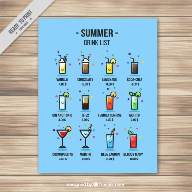 Grappige zomer drankje lijst Gratis Vector