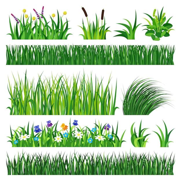 Gras met aarde vectorillustratie. Premium Vector