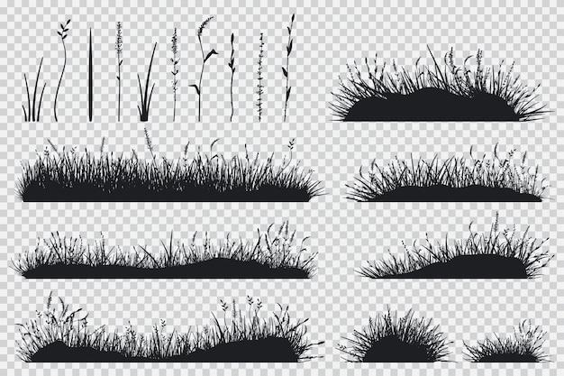 Gras zwart silhouet Premium Vector