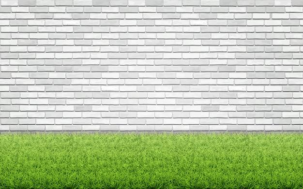 Grasgazon en witte bakstenen muur. Premium Vector