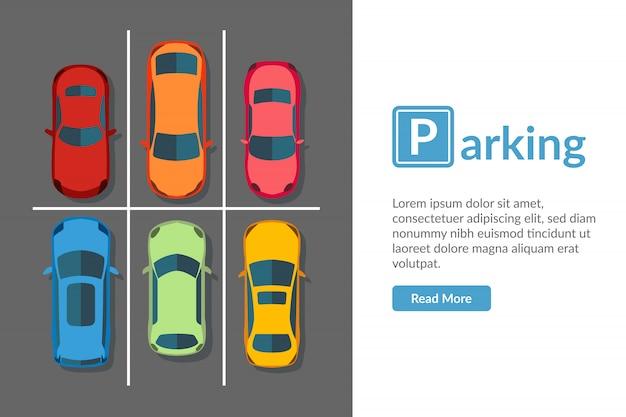 Gratis parkeerplaats met verschillende auto. bovenaanzicht voertuig illustratie in vlakke stijl Premium Vector