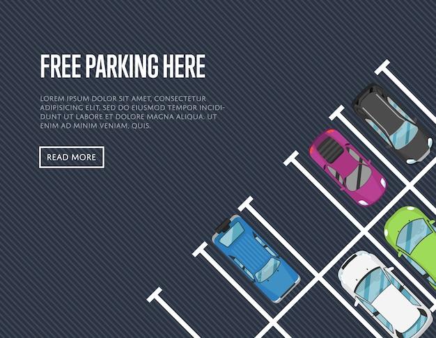 Gratis parkeren hier banner in vlakke stijl Premium Vector