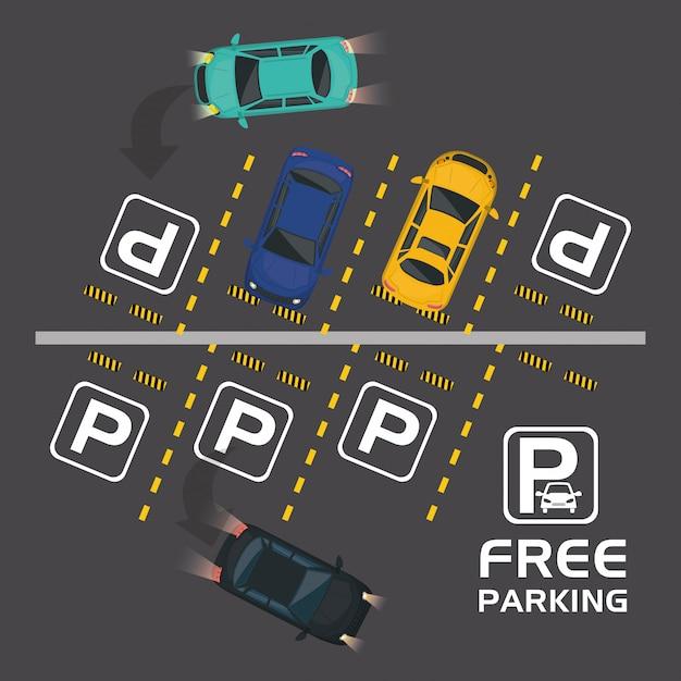 Gratis parkeren lucht uitzicht scène Premium Vector