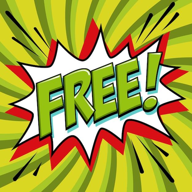Gratis stripwoordstijl. gratis banner in popart komische stijl Premium Vector