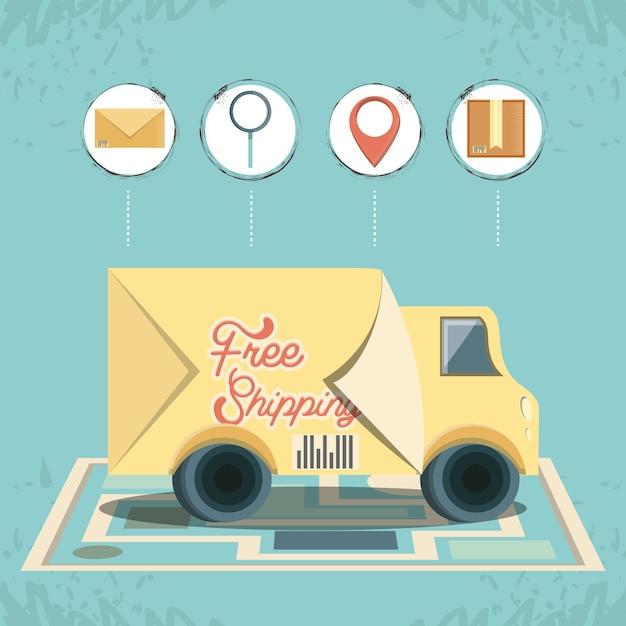 Gratis verzending met vrachtwagen pictogram vector ilustration Premium Vector
