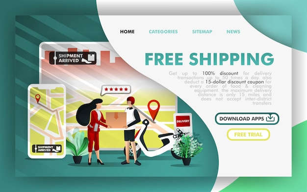 Gratis verzending online zaken Premium Vector