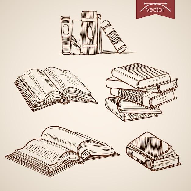 Gravure van vintage hand getrokken bibliotheek open, dicht boekencollectie. Gratis Vector