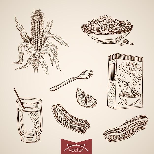 Gravure van vintage hand getrokken ontbijt cornflakes, citroen, baken collectie. Gratis Vector