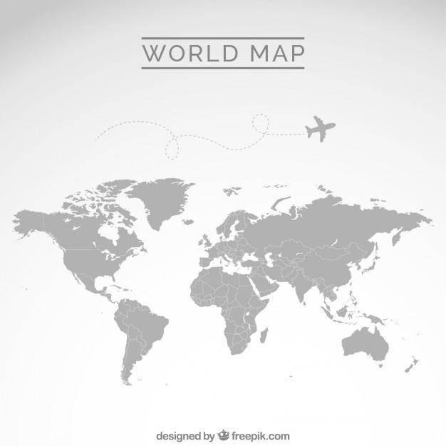 Gray kaart van de wereld Gratis Vector