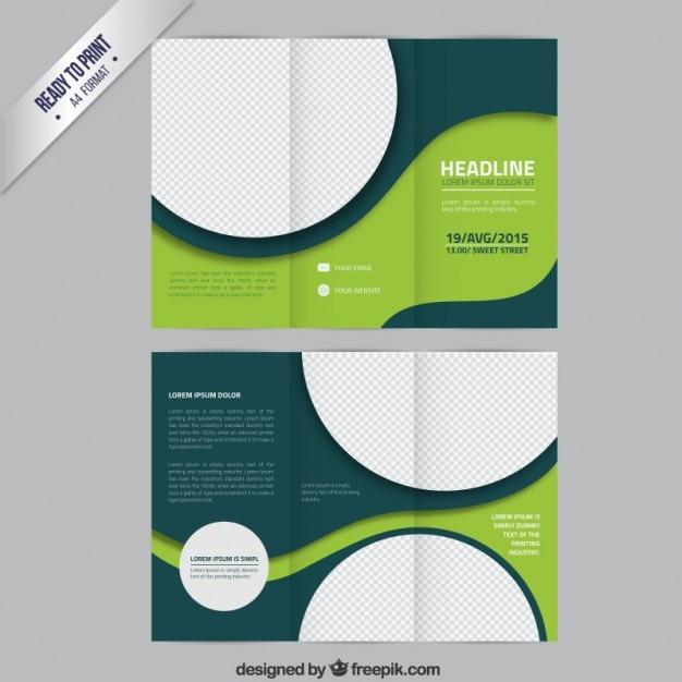 Green brochure sjabloon met cirkels Gratis Vector