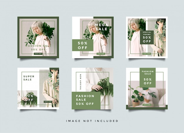 Green fashion social media banners quare design collectie Premium Vector