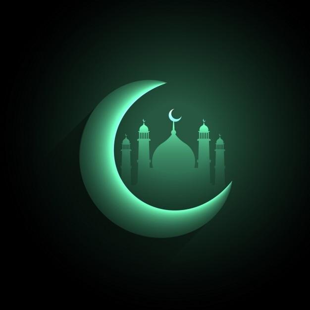 Green maansikkel met moskee achtergrond Gratis Vector
