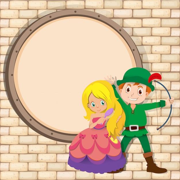 Grens met jager en prinses Gratis Vector