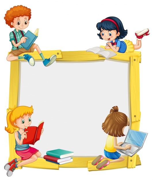 Grens ontwerp met kinderen lezen en huiswerk Gratis Vector