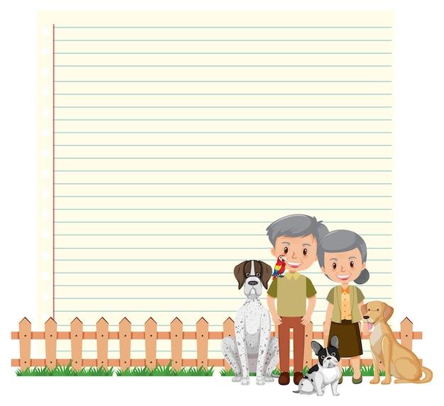 Grenskader sjabloon met oud echtpaar en hun hond Premium Vector
