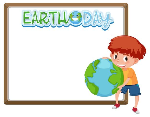 Grenskader sjabloon met thema van de dag van de aarde Premium Vector