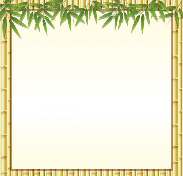 Grensmalplaatje met bruine bamboestengels Premium Vector