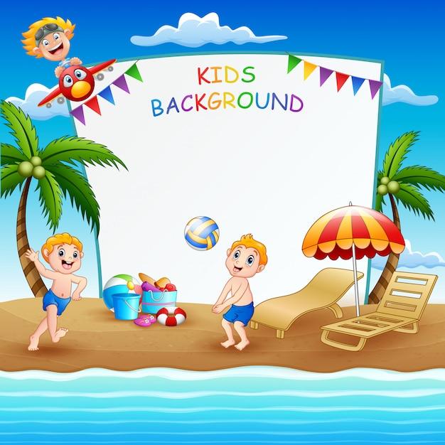 Grensmalplaatje met kinderen die op het strand spelen Premium Vector