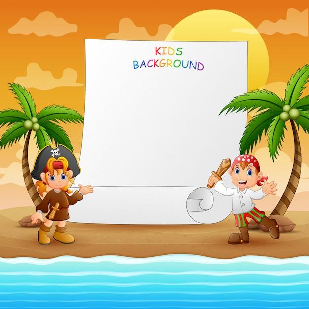 Grensmalplaatje met piraat op het strand Premium Vector
