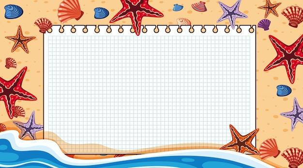 Grensmalplaatje met strandscène op achtergrond Premium Vector