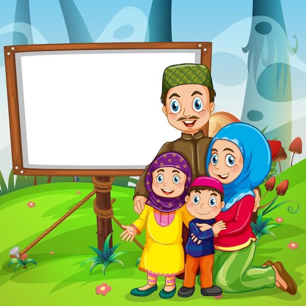 Grensontwerp met moslimfamilie Gratis Vector