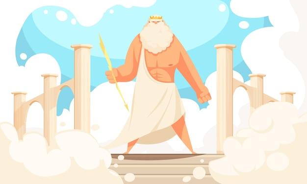 Griekenland oude goden platte cartoon van krachtige mythologische zeus prominente figuur in pantheon Gratis Vector