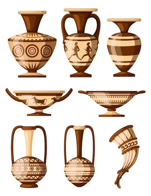 Griekse aardewerk icoon collectie. amfora met patronen, rhyton, kylix. griekse of romeinse cultuur. bruine kleur en patronen. illustratie op witte achtergrond. Premium Vector