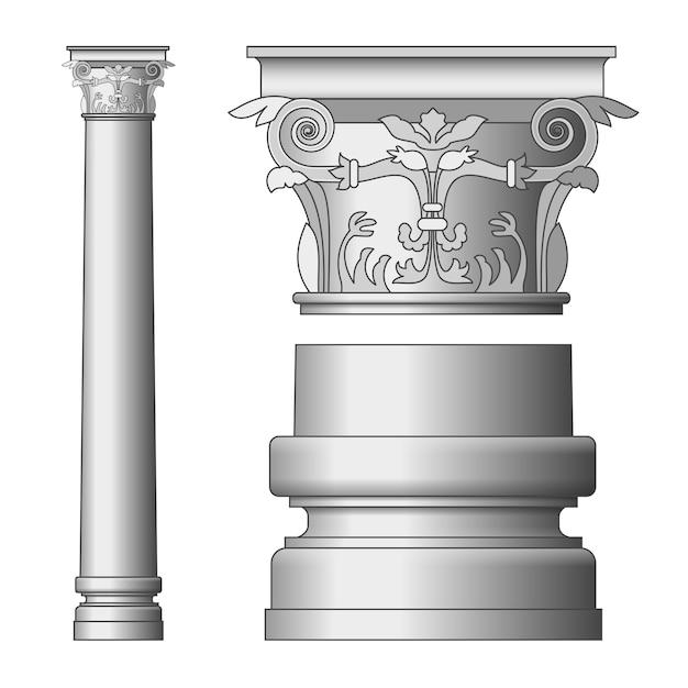 Griekse kolommen geïsoleerd Premium Vector