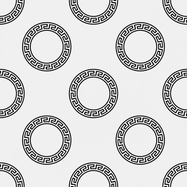 Griekse ronde ornament pattern Gratis Vector