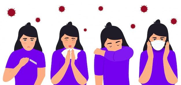 Griep en verkoudheid. coronavirus (covid-19. meisje dat lijdt aan koorts, loopneus, hoest, hoofdpijn. het kind niest. Premium Vector