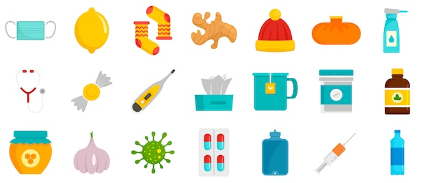 Griep ziek icon set Premium Vector