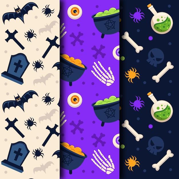 Griezelig objecten halloween platte ontwerp naadloze patronen Gratis Vector