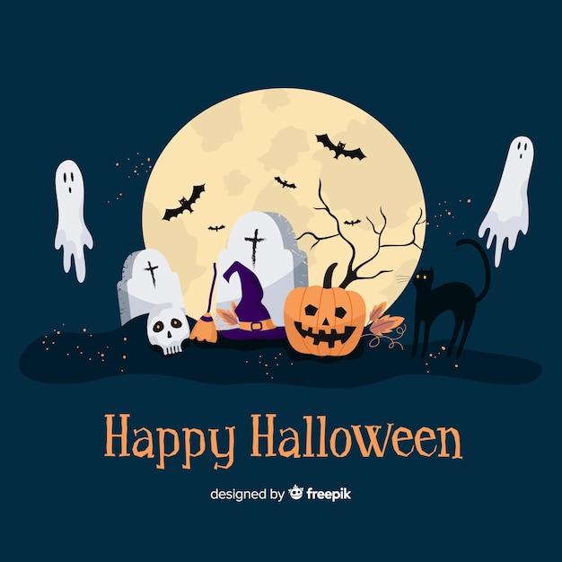 Griezelige halloween-achtergrond in vlak ontwerp Gratis Vector