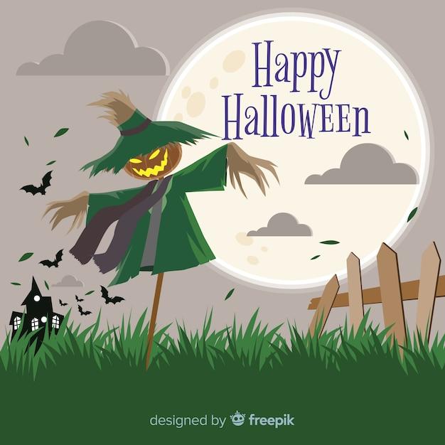 Griezelige halloween-achtergrond met vlak ontwerp Gratis Vector