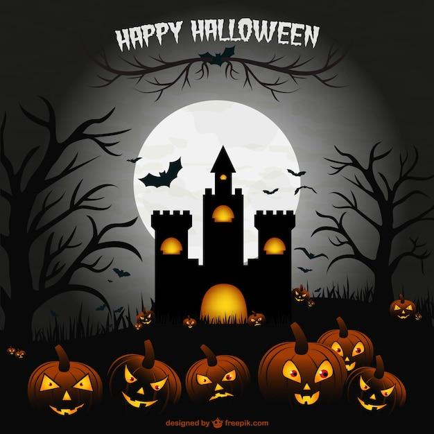 griezelige halloween kasteel illustratie sc ne vector. Black Bedroom Furniture Sets. Home Design Ideas