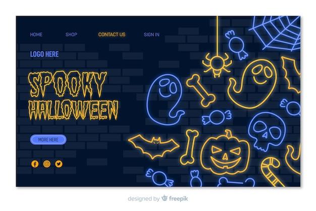 Griezelige halloween-neonlandingspagina Gratis Vector
