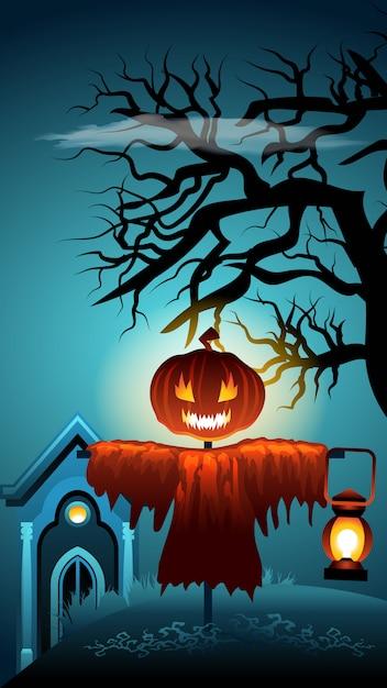 Griezelige halloween-scène. pompoen hoofd vogelverschrikker. Premium Vector