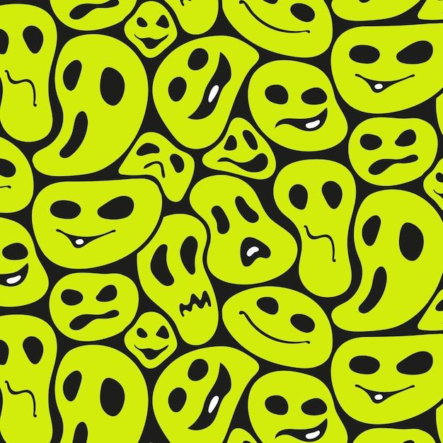 Griezelige vervormde emoticon patroon sjabloon Gratis Vector