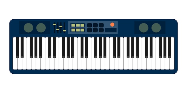 Grijs blauw piano roll analoge synthesizer faders knoppen knoppen weergave op wit Premium Vector