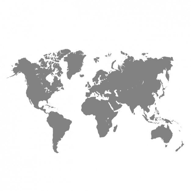 Grijs wereldkaart Gratis Vector