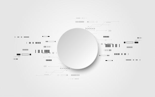 Grijs-wit abstracte technische achtergrond met verschillende technologie-elementen Premium Vector