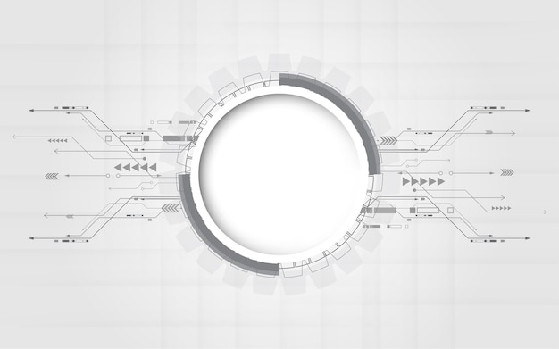 Grijs-witte abstracte technische achtergrond Premium Vector